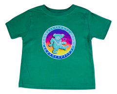 Dancing Bear on a Green Toddler T Shirt
