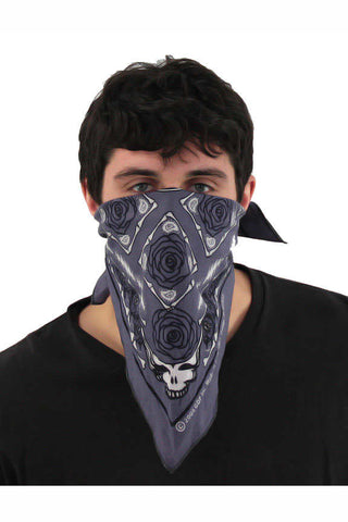 Grateful Dead Grey Steal Your Face Rose Bandana