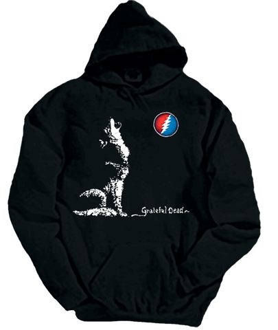 Grateful Dead Dire Wolf Hoodie with Pouch- Free Shipping