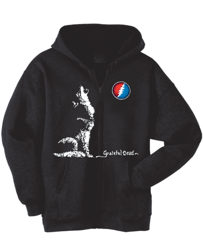 Grateful Dead Dire Wolf Zip Up Hoodie with Pouch- Free Shipping