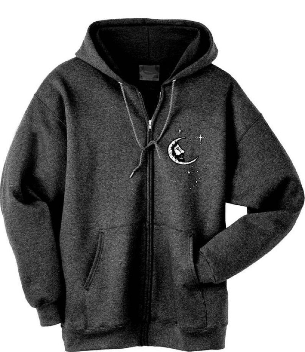 Grateful Dead Jerry Moon Embroidered Zip Up Hoodie - Free Shipping