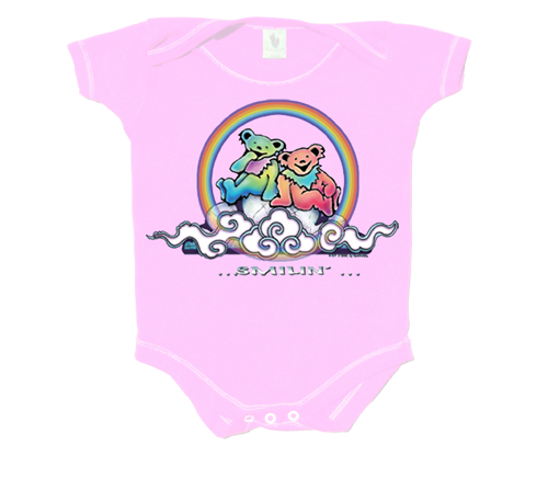 Smilin Bears On A Cloud Infant Pink Onesie