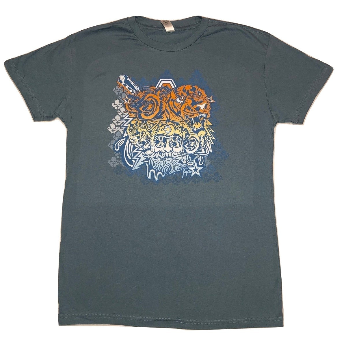 Jerry Garcia Tigers on a Light Blue Solid T-Shirt