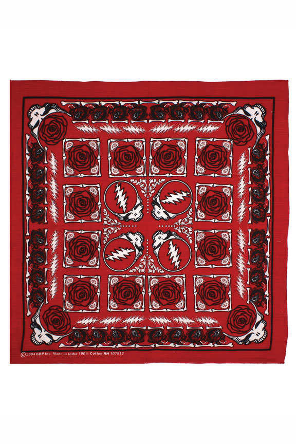 Grateful Dead Steal Your Face Rose Bandana - Red
