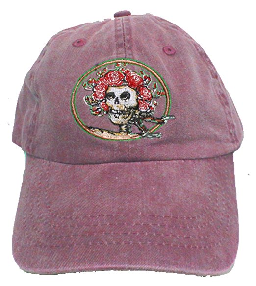 Grateful Dead Classic Pigment Dyed Maroon Bertha Skull and Roses Baseball Cap