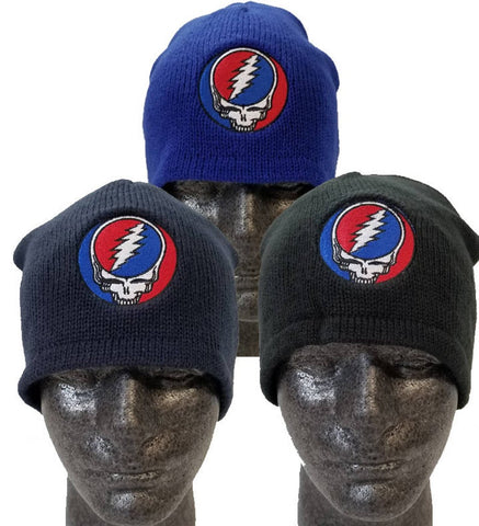 Grateful Dead Steal Your Face Beanie Hat Black, Navy, or Royal Blue