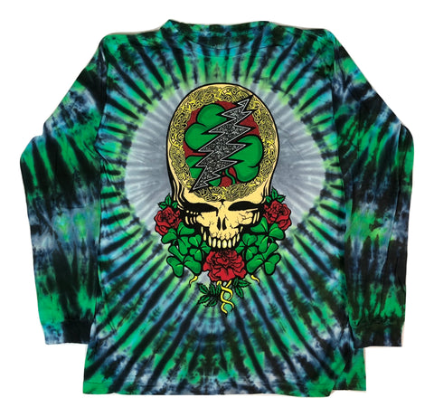 Grateful Dead Celtic Shamrock Long Sleeve Tie Dye T Shirt