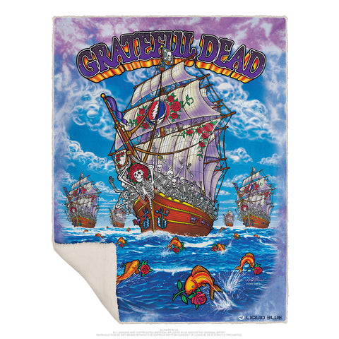 "Grateful Dead Ship of Fools Fleece Throw Blanket 50""x 60"""