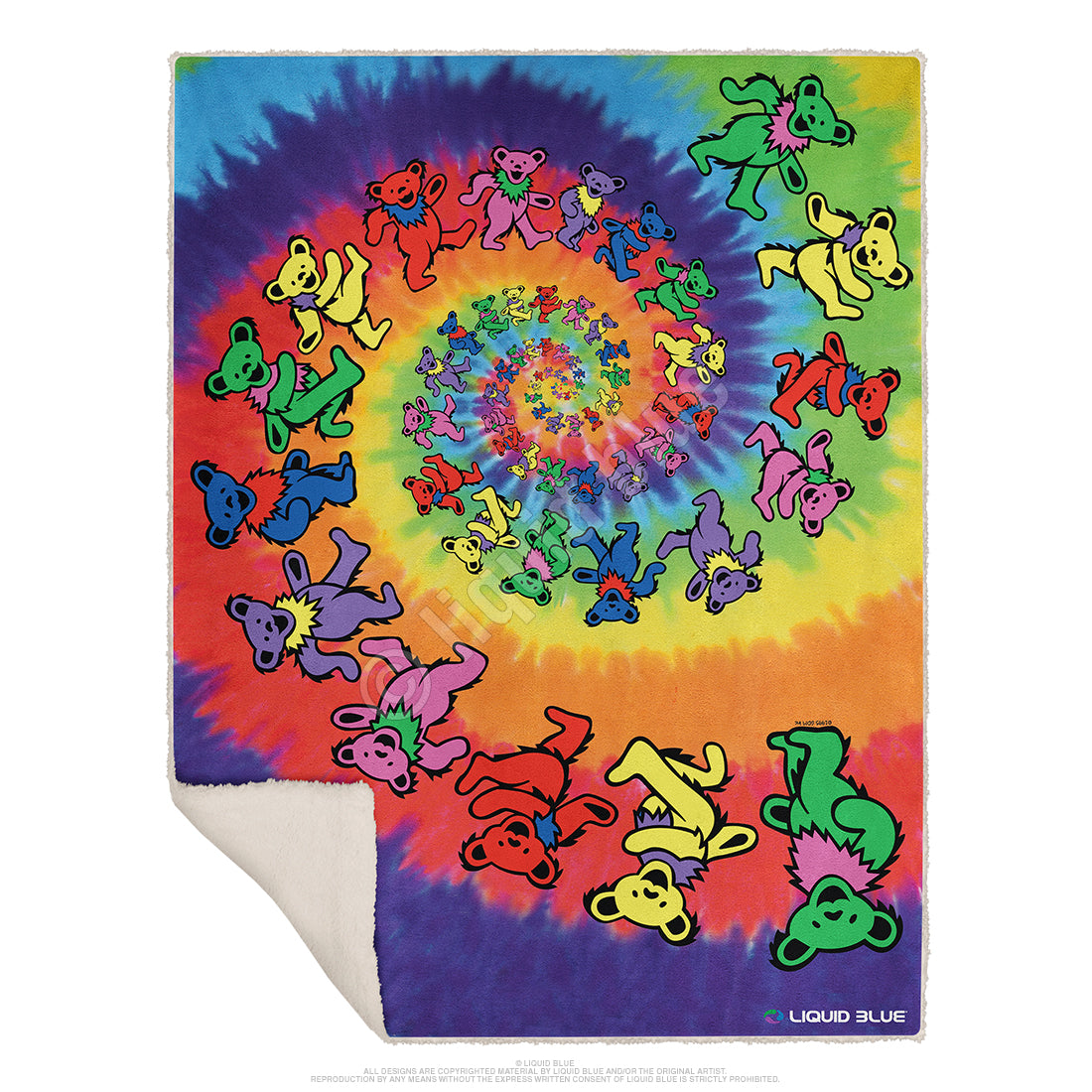 "Grateful Dead Spiral Bear Fleece Throw Blanket 50""x 60"""
