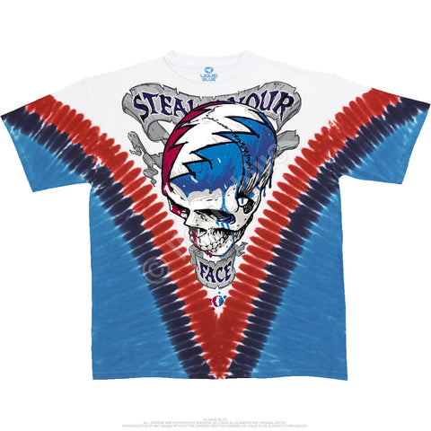 Steal Your Face V-Dye Grateful Dead Tie Dye T-Shirt