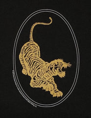 Jerry Garcia Tiger Guitar Image in Gold on a Black T-Shirt