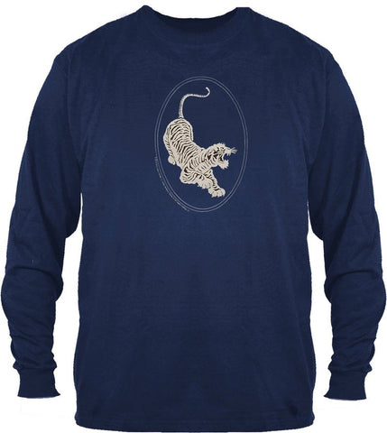 Jerry Garcia Tiger Guitar Image on a Navy Long Sleeve Shirt