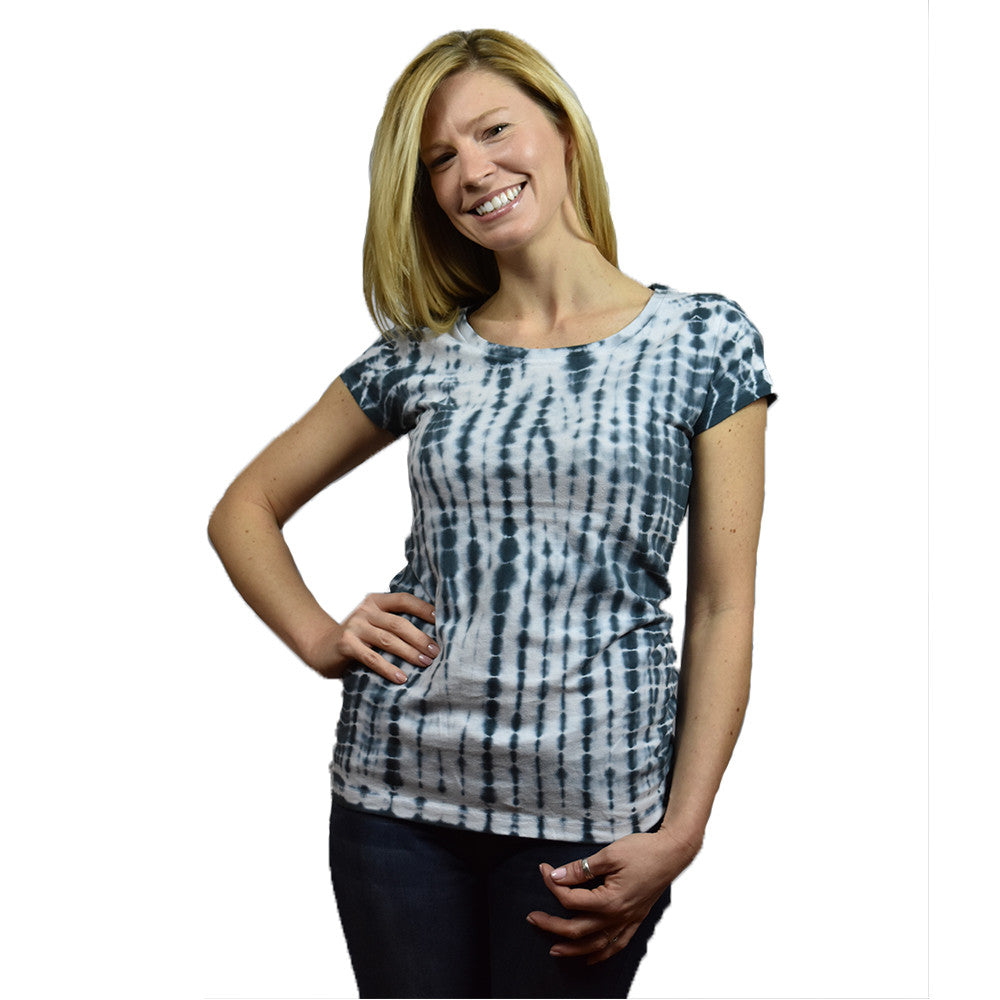 Ladies Scoop Neck Tie Dye  T-Shirt - Charcoal/White