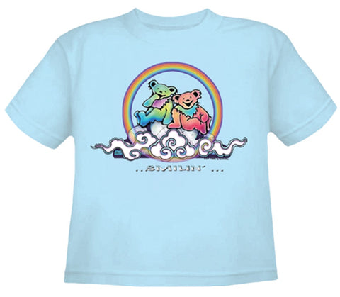 Smilin' Bears on a Cloud Youth Blue T Shirt