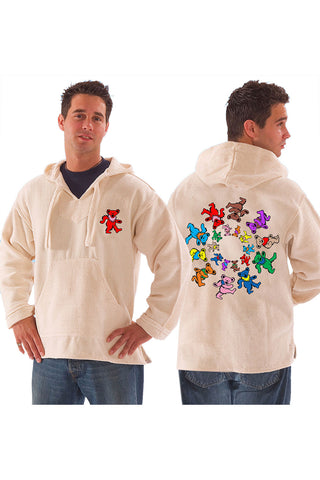 Grateful Dead Dancing Bears Baja Pull Over Jacket With Pouch Natural - Free Shipping