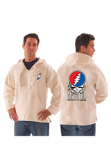 Grateful Dead Dancing Steal Your Face Hooded Pull Over Jacket With Pouch Natural - Free Shipping