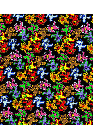"Grateful Dead Bear Jumble Fleece Throw Blanket 50""x60"""
