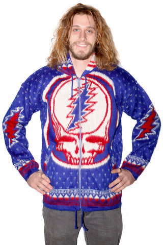 Grateful Dead Alpaca Style Jacket Blue/Red Steal Your Face - Free Shipping