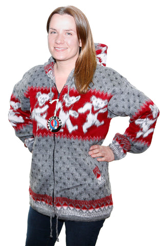 Grateful Dead Alpaca Style Jacket Grey/Red Dancing Bears - Free Shipping