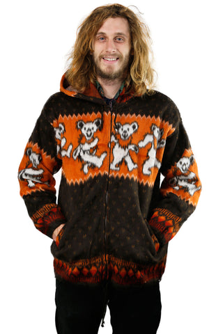 Grateful Dead Alpaca Style Jacket Orange/Black Dancing Bears - Free Shipping
