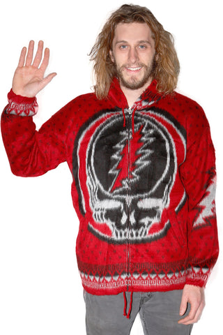 Grateful Dead Alpaca Style Jacket Red/Black Steal Your Face - Free Shipping