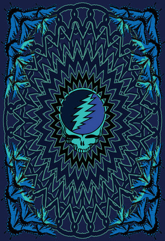 "Grateful Dead Blue SYF & Roses Tapestry 60""x90"""