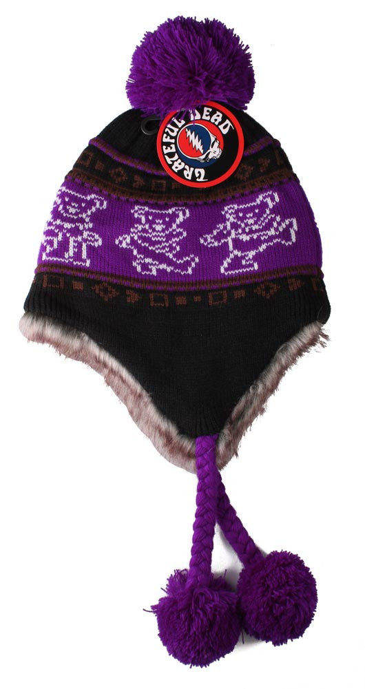 Grateful Dead Bears Ski Hat Purple