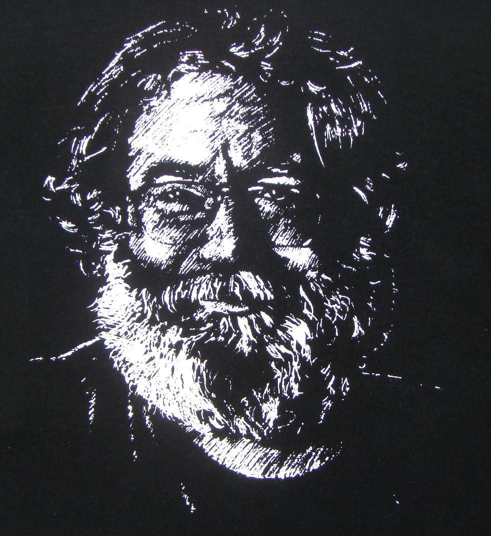 Jerry Garcia Heavy Weight Black T Shirt Portrait