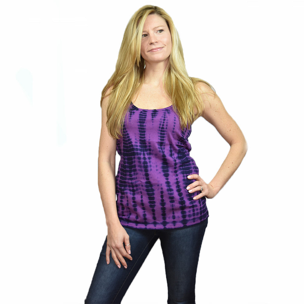 Womens Tie Dye  Tank Top - Purple/Plum