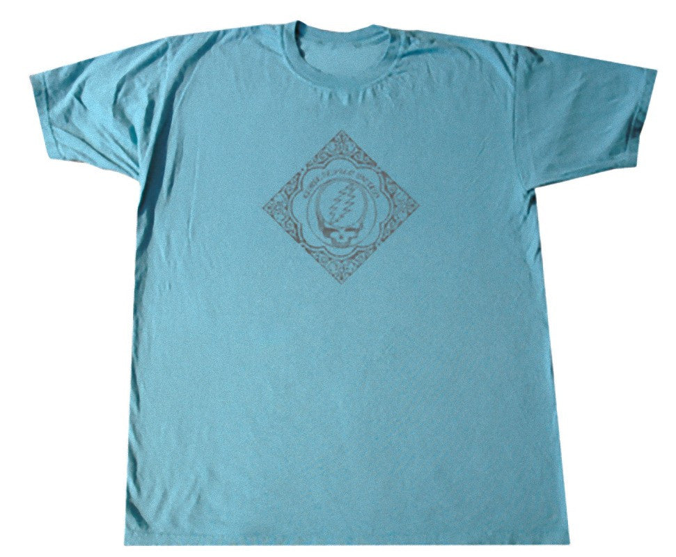 Grateful Dead Wood Cut Solid Blue T Shirt