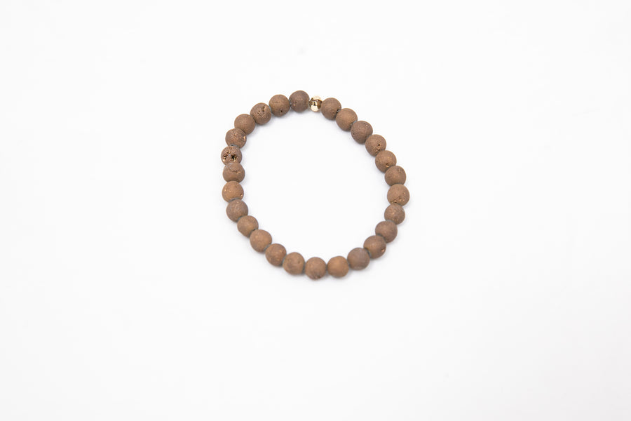 Wristband Brown Geode Agate