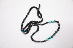Beaded Necklace with Lava stone, Howlite & Hematite