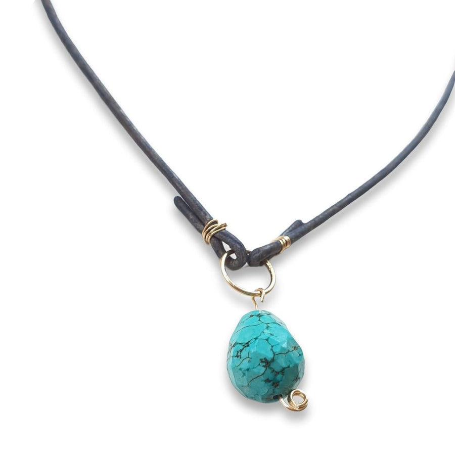 Leather Turquoise pendant Necklace or Bracelet