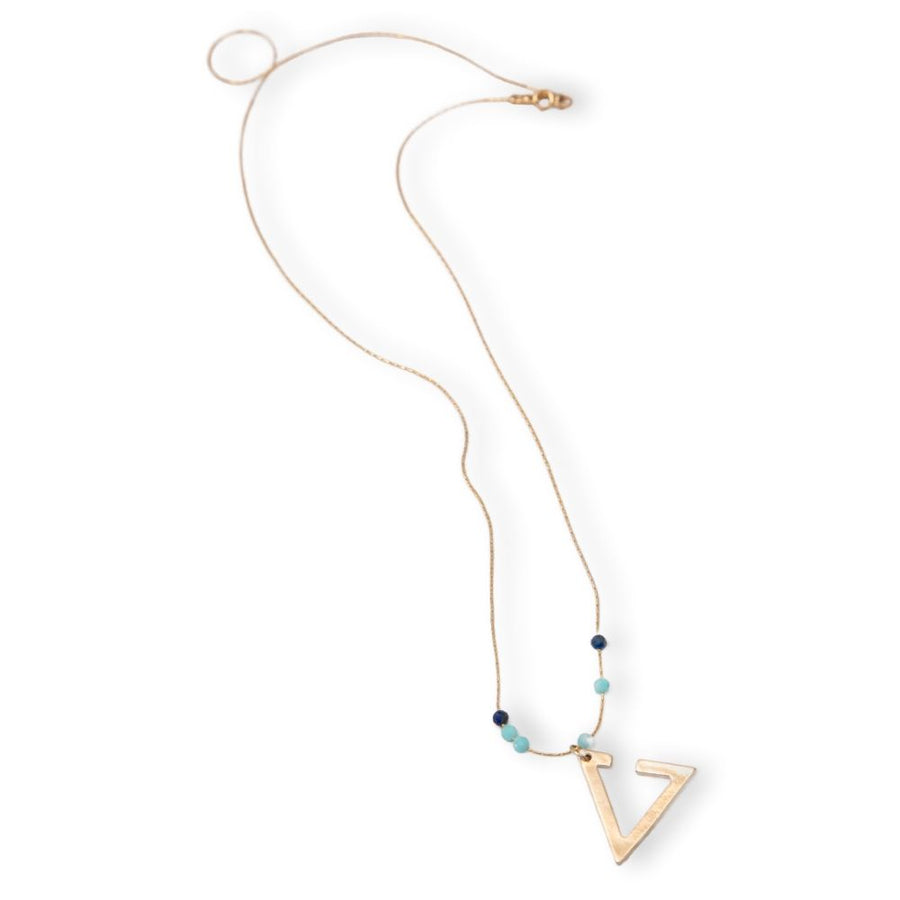 Lapis, Amazonite Triangle Pendant Necklace Gold