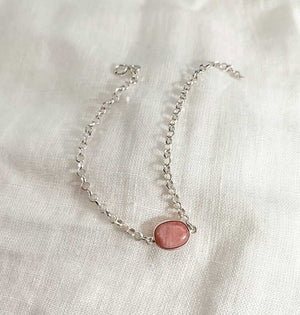 Sterling Silver Bracelet with Pink Opal