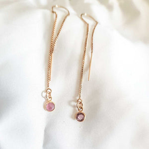 Tourmaline Falling Earrings in Gold