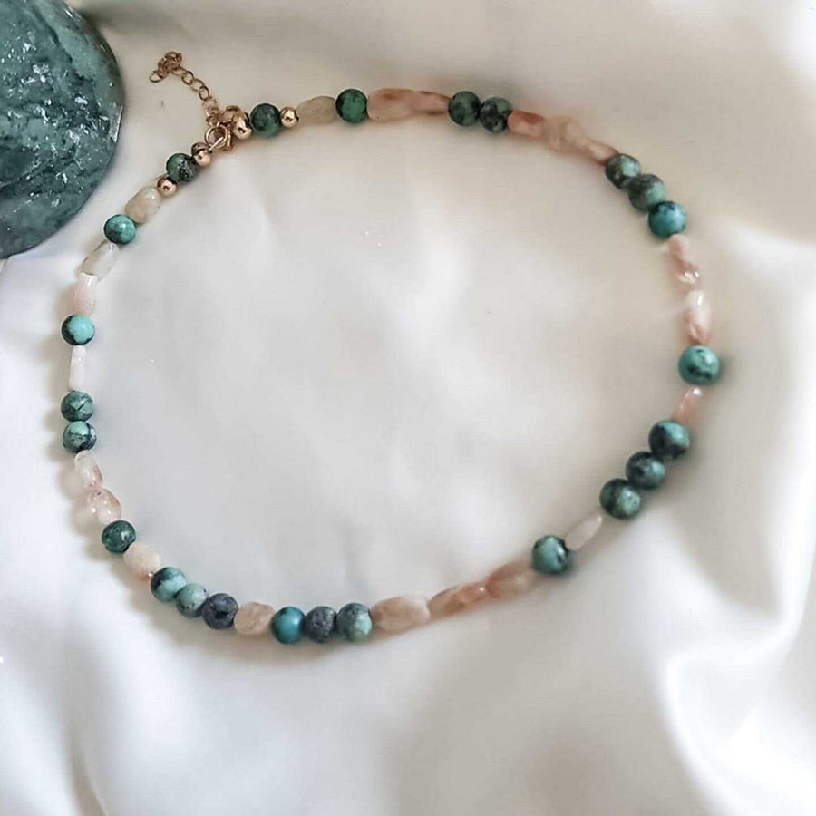 Beaded Choker with Turquoise Moonstone