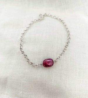 Sterling Silver Bracelet with Ruby Gemstone