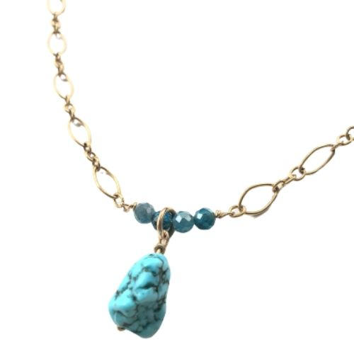 Apatite & Turquoise Howlite Pendant Necklace Gold