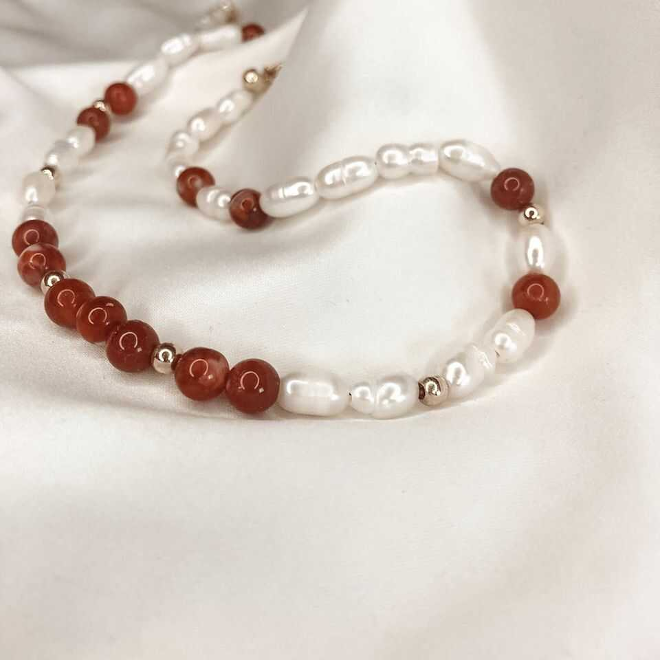 Gold Choker with Perals Red Agate