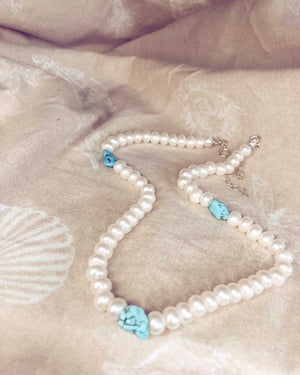 Beaded Choker with Pearls Turquoise Howlite
