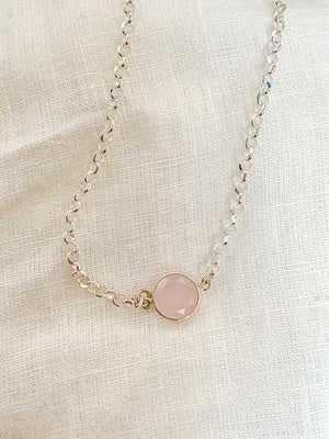 Sterling Silver Necklace with Rose quartz pendant