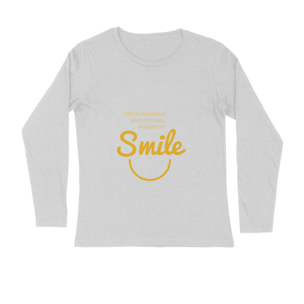 Mens Kannada Round Neck Full Sleeve Tshirts - Smile Tshirt