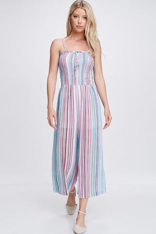 STRIPED JUMPSUIT - Bedazzled Closet
