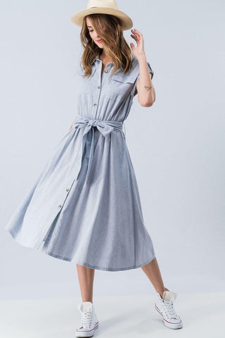 BUTTON DOWN TIE WAIST MIDI DRESS - Bedazzled Closet