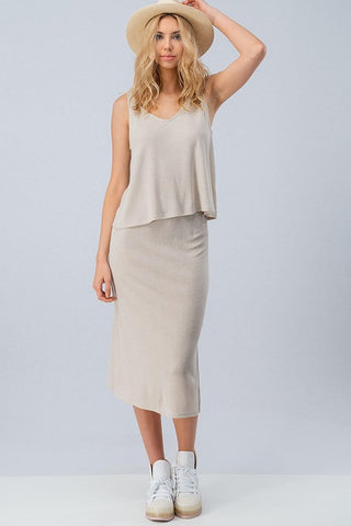SWEATER KNIT SLEEVELESS TOP AND MIDI SKIRT SET - Bedazzled Closet