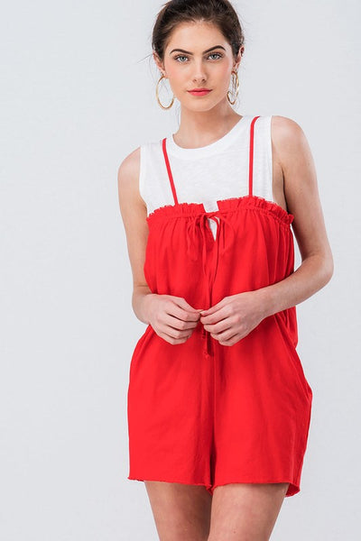 WASHED STRAP STRING BOXY ROMPER - Bedazzled Closet