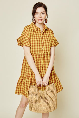 PLAID RUFFLE SHIRT DRESS - Bedazzled Closet