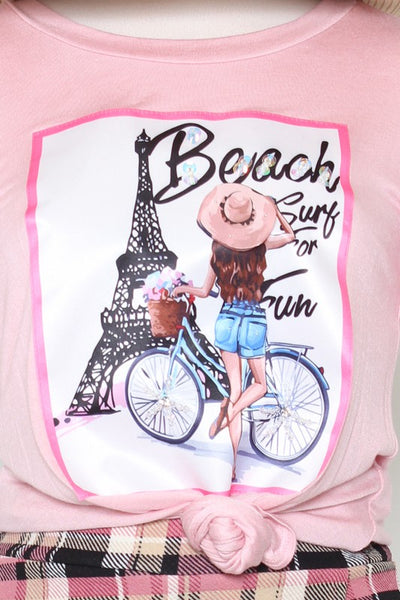 BEACH EIFFEL TOWER PATCH TOP - Bedazzled Closet