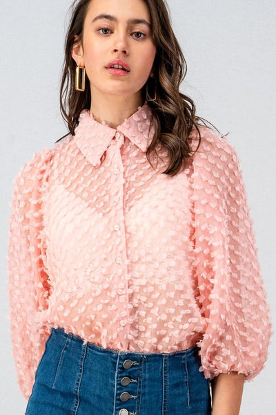 PETAL TEXTURED 3/4 PUFF SLEEVE BUTTON DOWN BLOUSE - Bedazzled Closet
